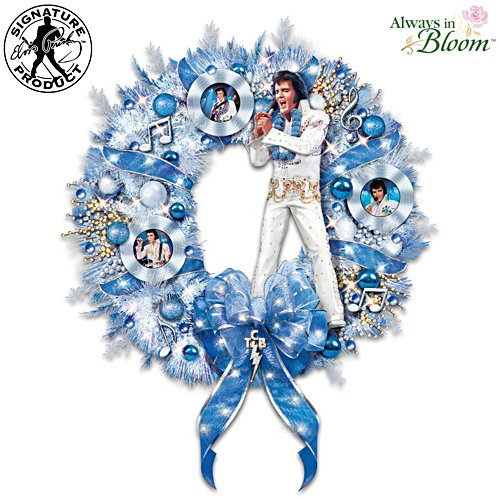 Elvis Presley It's A True Blue Christmas Illuminated Musical Wreath