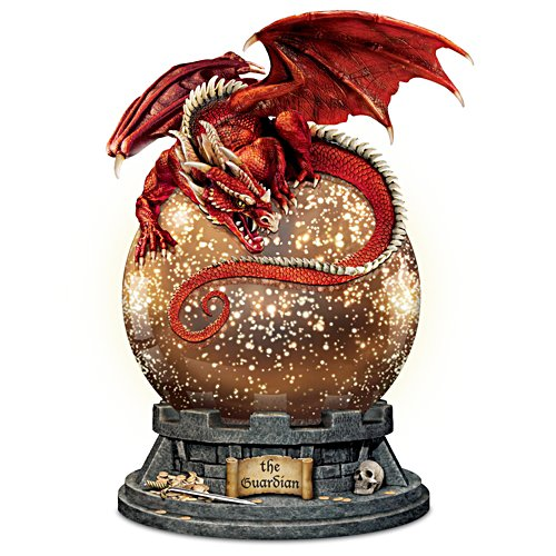 """The Guardian"" Dragon Sculpture With Lighted Mercury Ball"