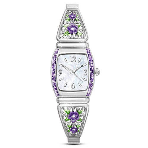"""Midnight Rose"" Ladies Watch With Mother-Of-Pearl Face"