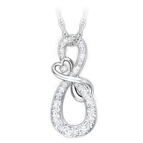 Mother & Daughter Diamond Infinity Sterling Silver Pendant