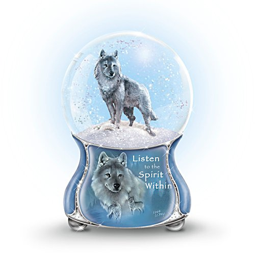 Eddie LePage Silver Scout Musical Wolf Glitter Globe