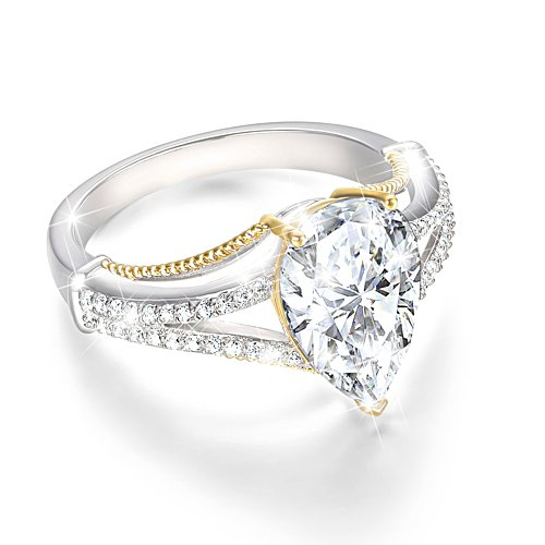 Touch Of Gold Women's Diamonesk Ring: Pear Perfection