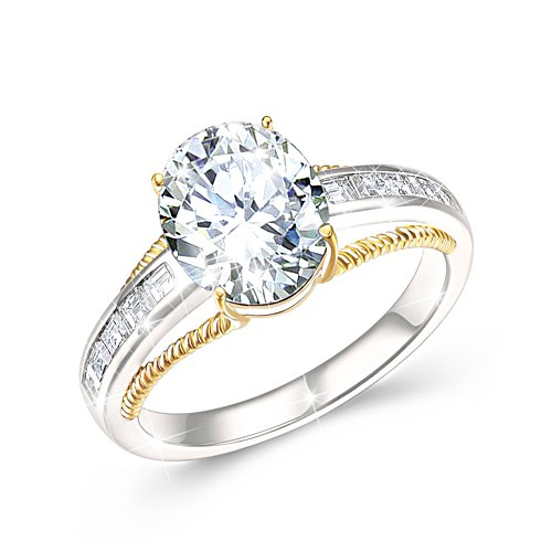 Touch Of Gold Women's Diamonesk Ring: Opulent Oval