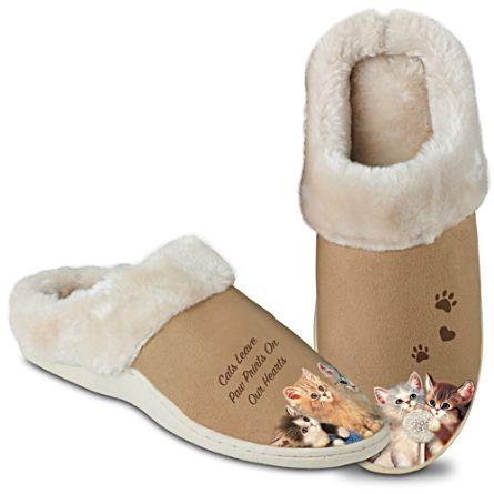 """""""Feline Fun"""" Women's Slippers With Jürgen Scholz Art"""