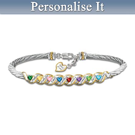 """Family Is Forever"" Personalised Birthstone Bracelet"