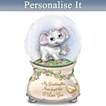 Granddaughter Musical Snow Globe With Name-Engraved Charm