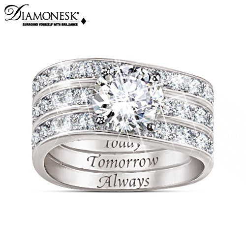 """Message Of Love"" 3-Band Stackable Diamonesk Rings"