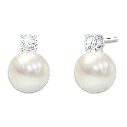 'Precious Granddaughter' Cultured Pearl And Diamond Earrings