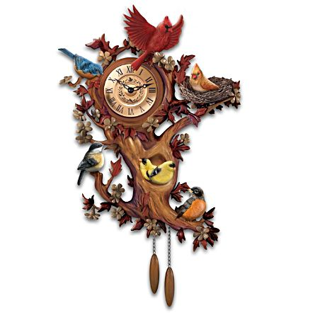 Songbird Bavarian Musical Sculpted Wall Clock Treetop