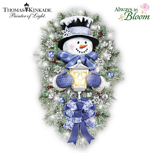 "Thomas Kinkade ""A Warm Winter Welcome"" Illuminated Snowman Christmas Wreath"
