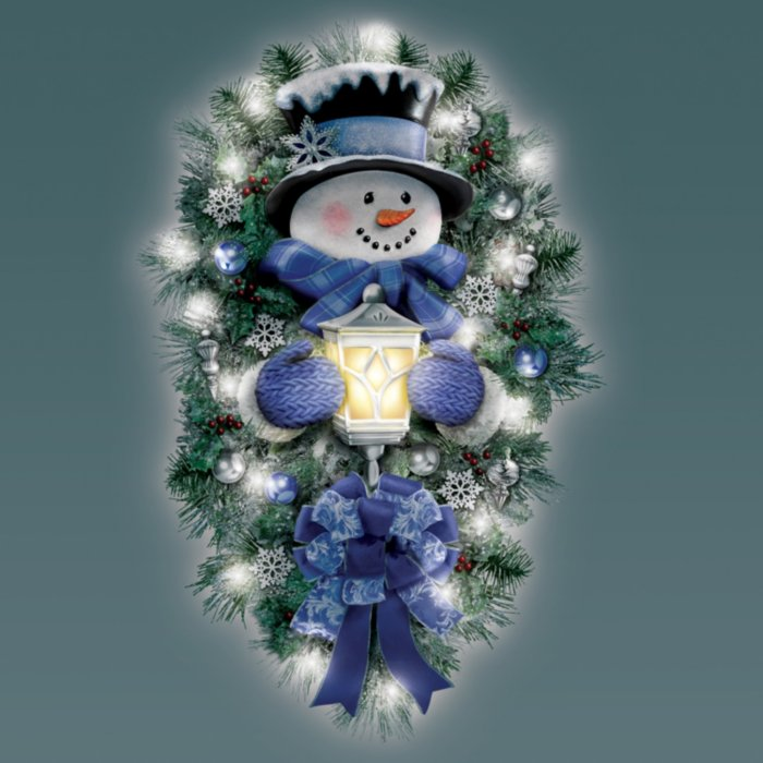 Thomas Kinkade A Warm Winter Welcome Illuminated Snowman Christmas