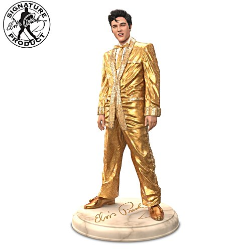Elvis Presley Glass Mosaic Gold Lamé Sculpture