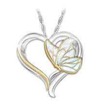 """Messenger From Heaven"" Butterfly Heart Remembrance Pendant Necklace"