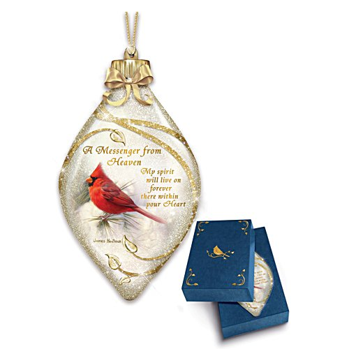 """""""Messenger From Heaven"""" Illuminated Cardinal Art Ornament"""