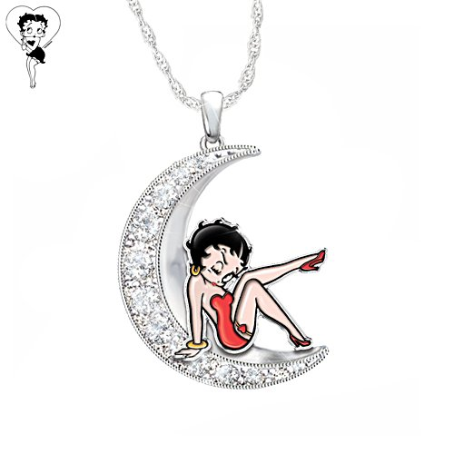 Over The Moon With Betty Boop Crescent Moon Necklace