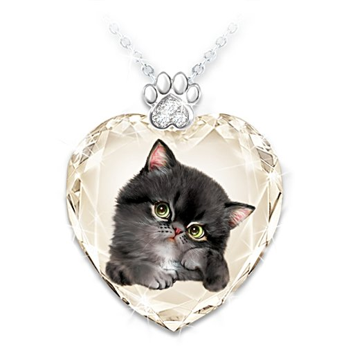 "Kayomi Harai ""Sassy Cat""  Faceted Glass Heart Pendant Set"