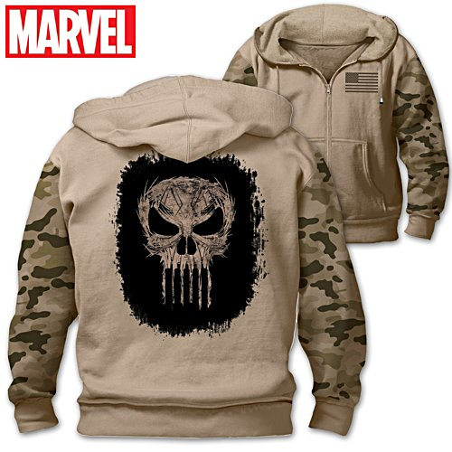 "MARVEL ""The Punisher"" Men's Cotton-Blend Knit Hoodie"