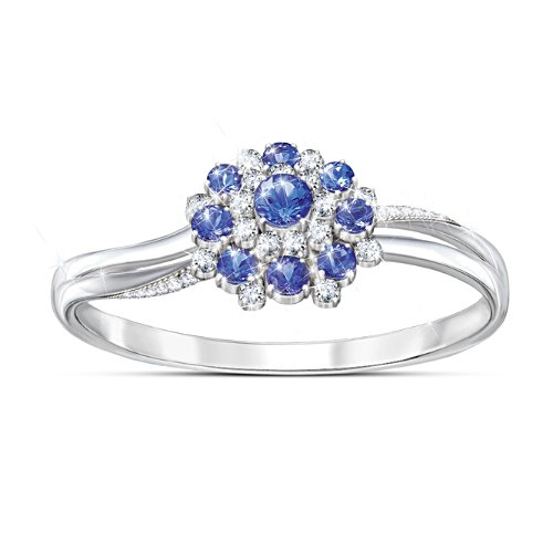 Genuine Tanzanite And White Zircon Women's Ring