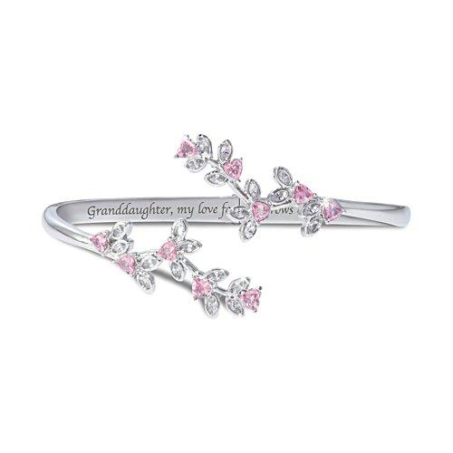 """Granddaughter, My Love Grows"" Engraved  Faceted Glass Bracelet"