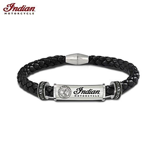 """Indian Motorcycle Legacy"" Men's Leather Logo Bracelet"