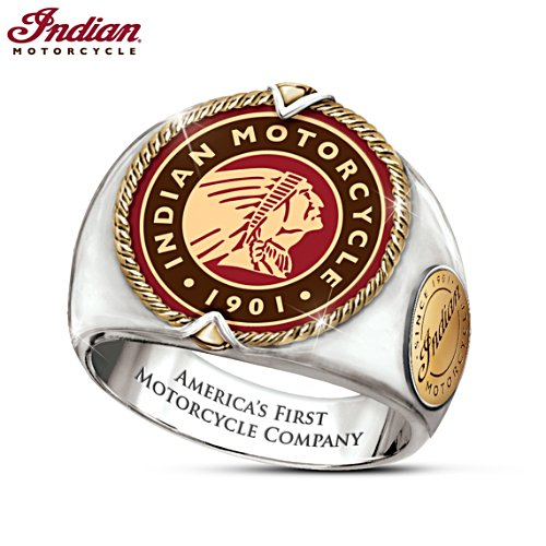 """Indian Motorcycle Legacy"" Men's Stainless Steel Logo Ring"
