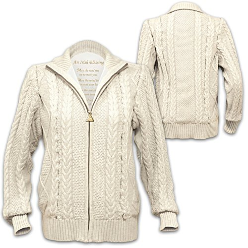 'Irish Blessing' Ladies' Celtic-Inspired Cable Knit Sweater Jacket