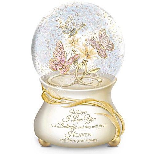 """Message To Heaven"" Heirloom Porcelain Musical Snow Globe"