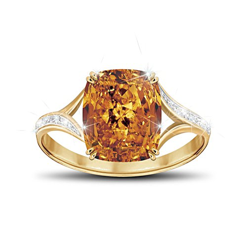 Golden Celebration Women's Diamonesk Simulated Diamond Ring