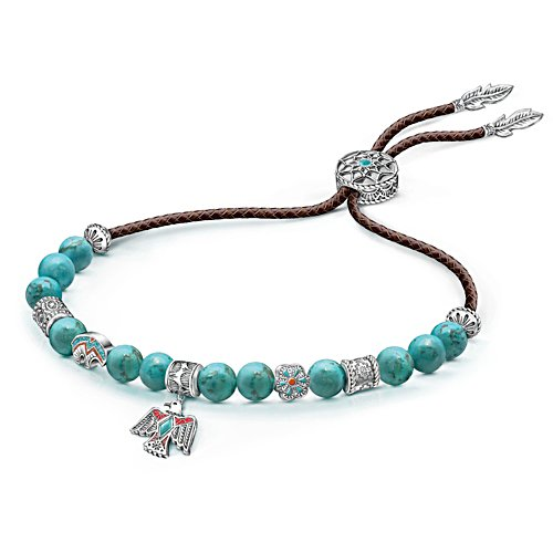 """Sacred Spirit"" Women's Leather And Turquoise Bolo Bracelet"