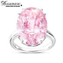 """Majestic Pink"" Diamonesk Simulated Pink Diamond Ring"