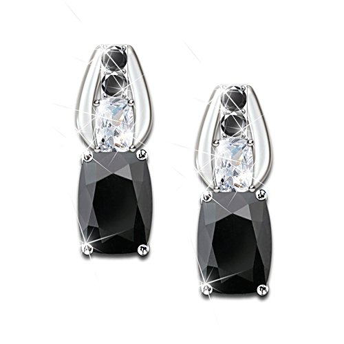 Black Spinel And White Topaz Earrings