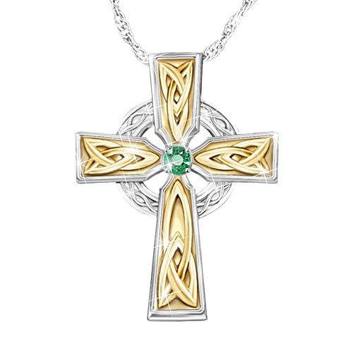Irish Blessing' Ladies' Celtic Emerald Cross Pendant