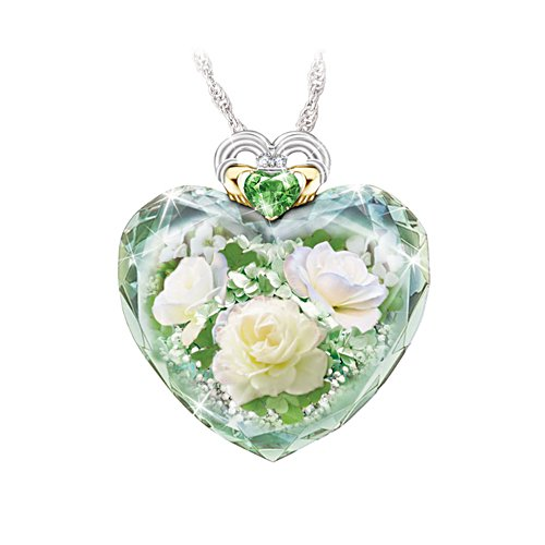 'Irish Rose' Peridot And Topaz Heart Ladies' Pendant
