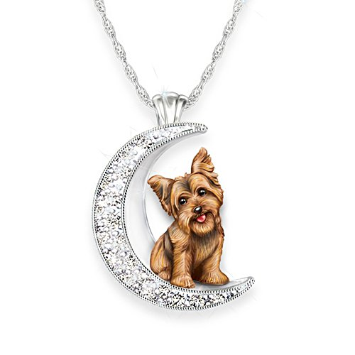 'I Love My Yorkie To The Moon And Back' Ladies' Pendant