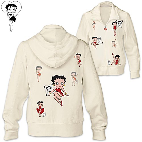 Betty Boop Women's Hoodie With Kiss-Shaped Zipper