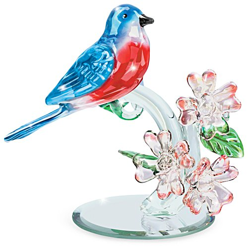 """Blue Beauty"" Faceted Glass Bluebird Sculpture"