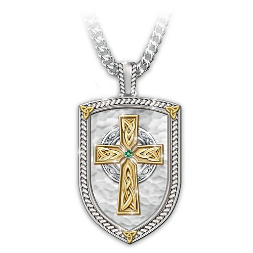 """Pride Of Ireland"" Engraved Men's Religious Pendant Necklace"