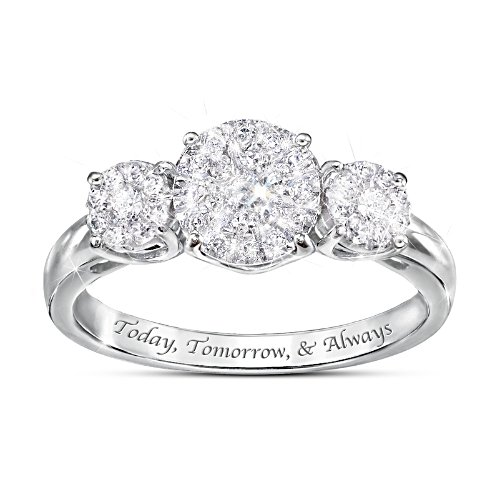 """Miracle Of Love"" Romantic Engraved Women's Diamond Ring"