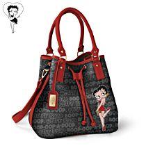 Betty Boop Drawstring Bucket Handbag with Shoulder Strap