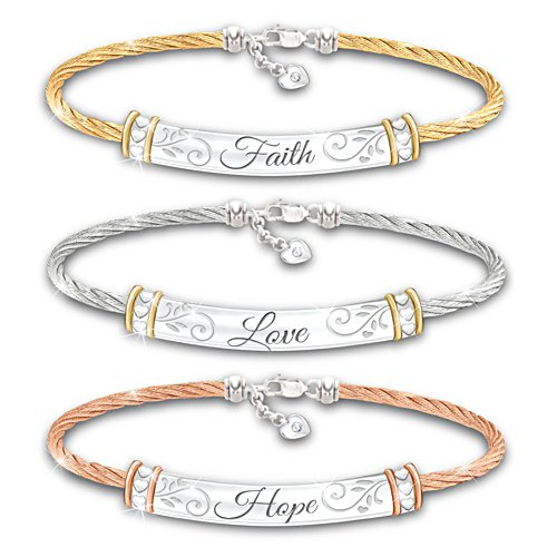 """Guiding Words Of Inspiration"" Three-Piece Bracelet Set"