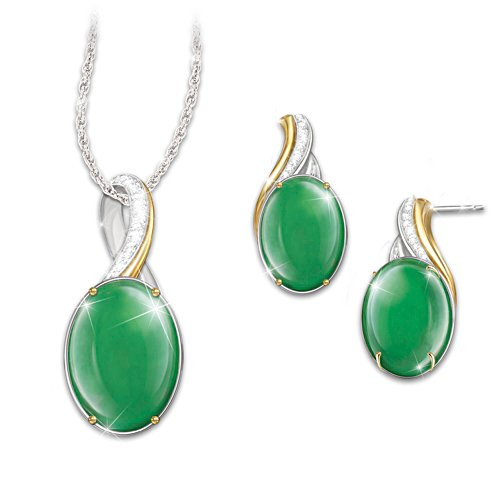 'Empress' Burmese Jade Pendant And Earrings Set