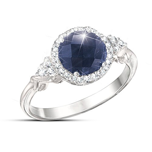 """Midnight Splendour"" Sapphire And White Topaz Ring"