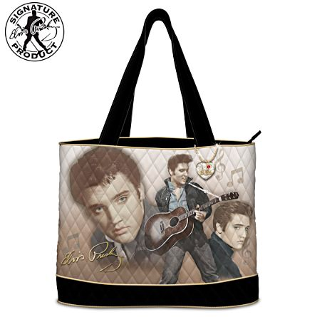 "Elvis Presley ""Burning Love"" Women's Tote Bag With Heart Charm"