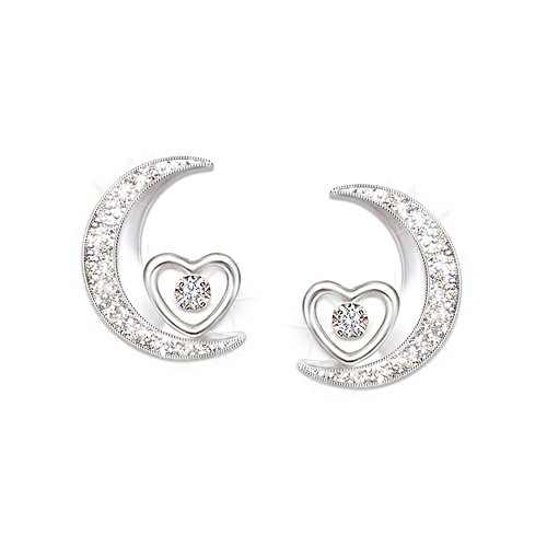 'I Love You To The Moon And Back' Granddaughter Diamond Earrings