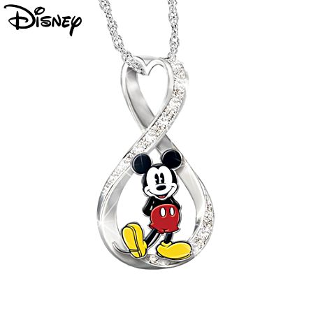 Disney Mickey Mouse Infinity Necklace With Collector Cards