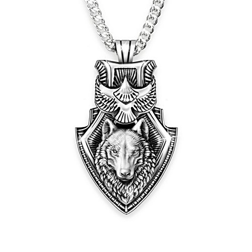 """Guardian Spirits"" Men's Wolf And Eagle Pendant Necklace"