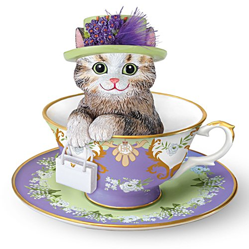 'Paws-itively Grand' Tea Cup Cat Figurine