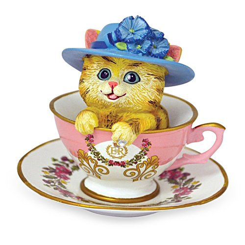 'Refreshingly Regal' Tea Cup Cat Figurine