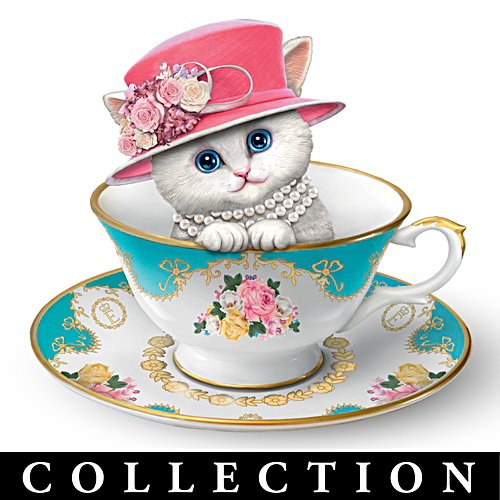 'Royal Purrfection' Tea Cup Cat Figurine Collection