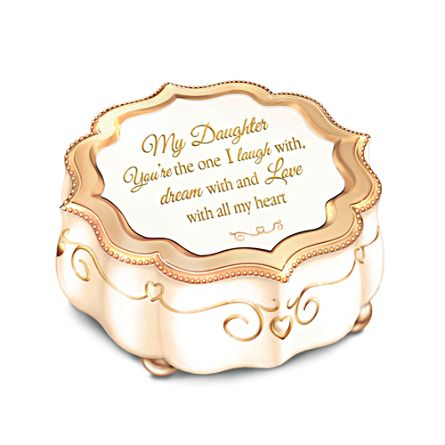 Daughter, I Love You With All My Heart Porcelain Music Box